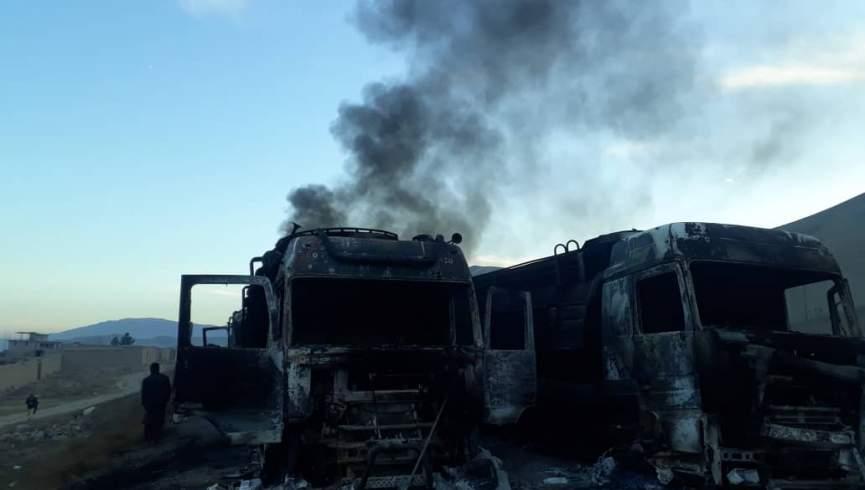 طالبان شش مخزن سوخت را در باگلان به آتش کشیدند و رانندگان را با خود بردند